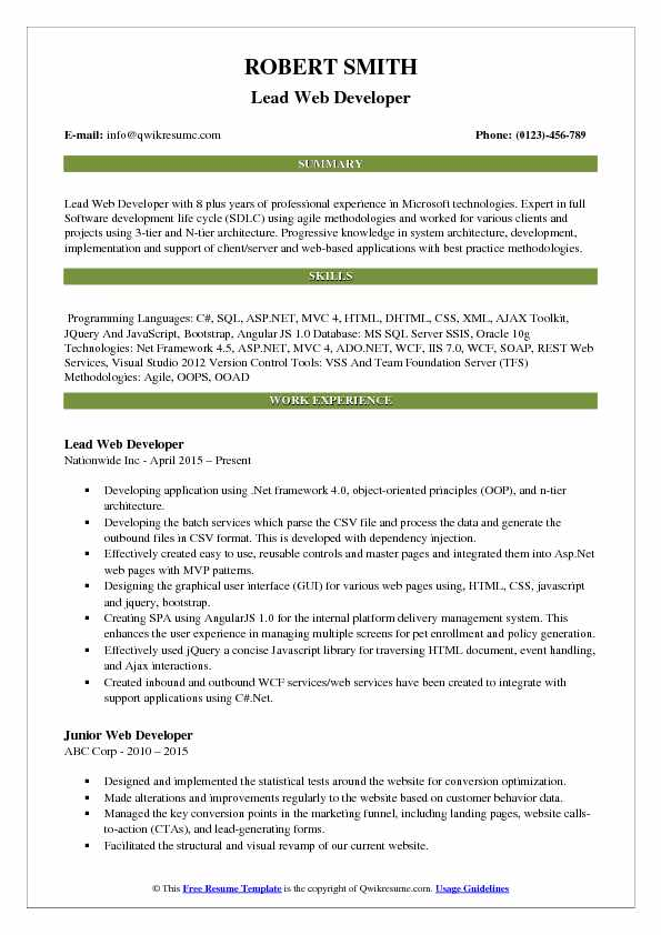 Lead Web Developer Resume Samples QwikResume