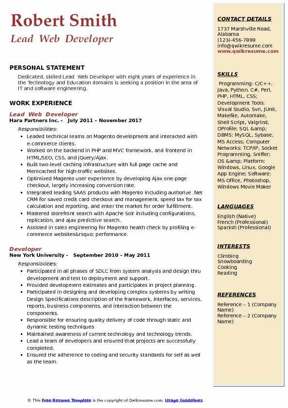 resume headline for php developer