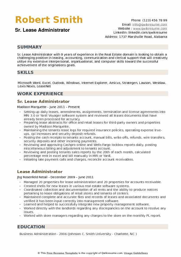 Lease Administrator Resume Samples QwikResume