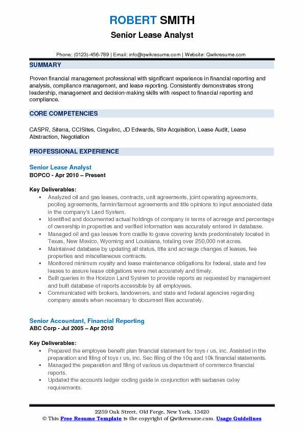 Lease Analyst Resume Samples QwikResume