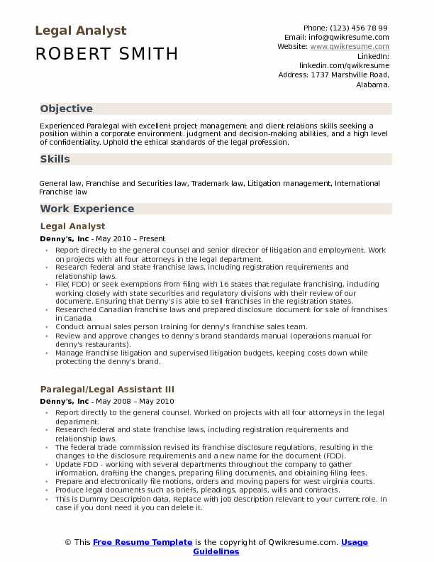 Legal Analyst Resume Samples QwikResume - trademark attorney resume