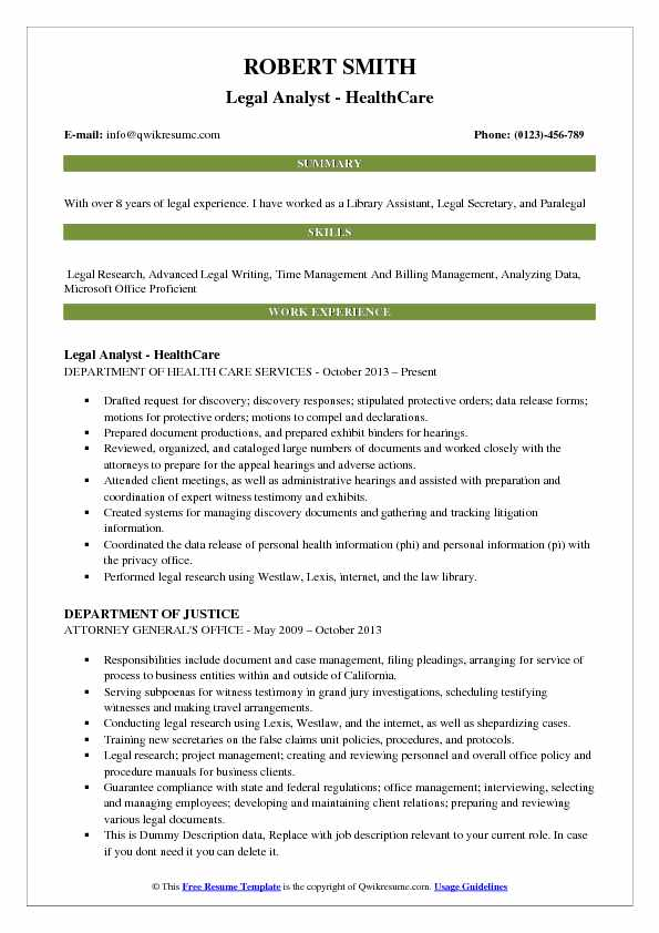 Legal Analyst Resume Samples QwikResume - health care attorney sample resume