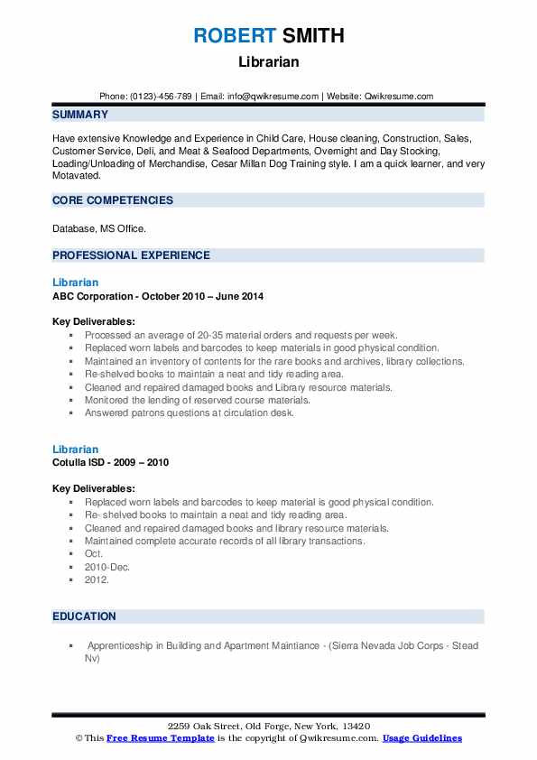 library science resume samples
