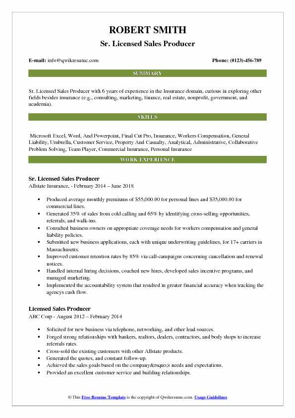 insurance producer resume template