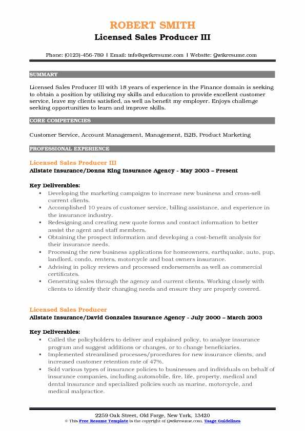 Licensed Sales Producer Resume Samples QwikResume