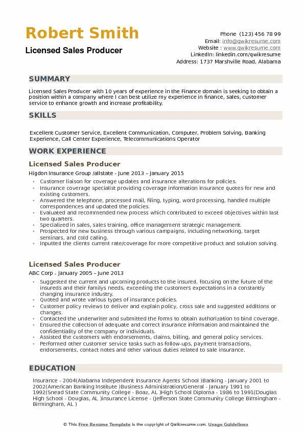 Licensed Sales Producer Resume Samples QwikResume