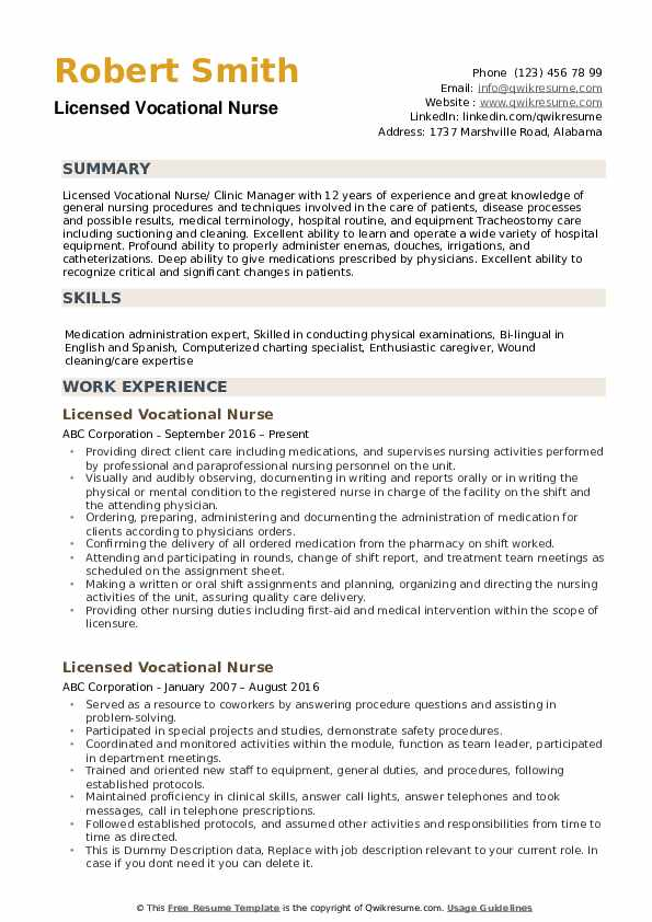 Licensed Vocational Nurse Resume Samples QwikResume