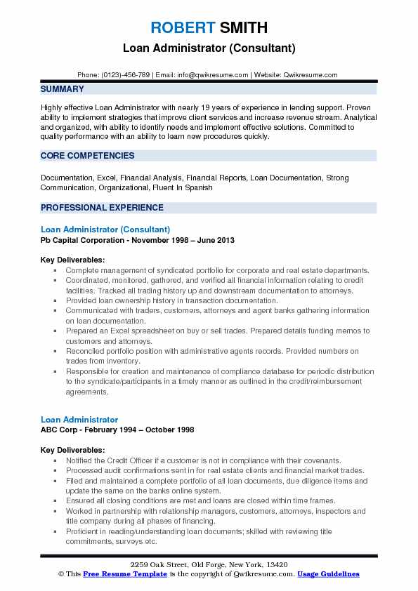 Loan Administrator Resume Samples QwikResume