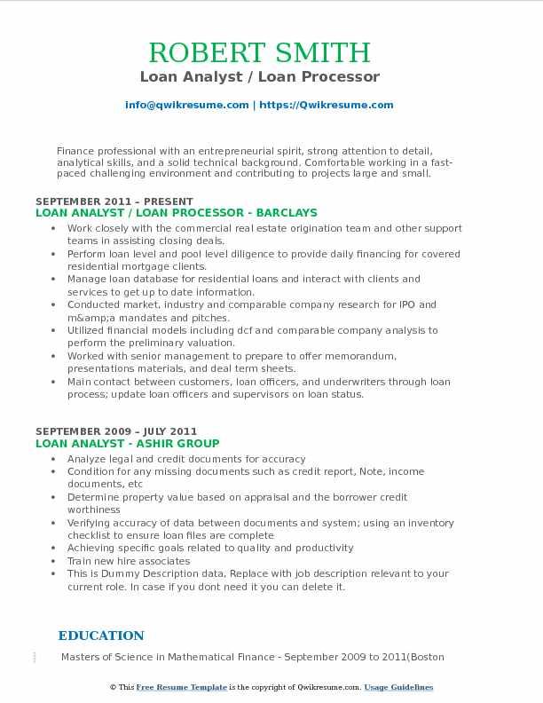 Loan Analyst Resume Samples QwikResume - document processor resume
