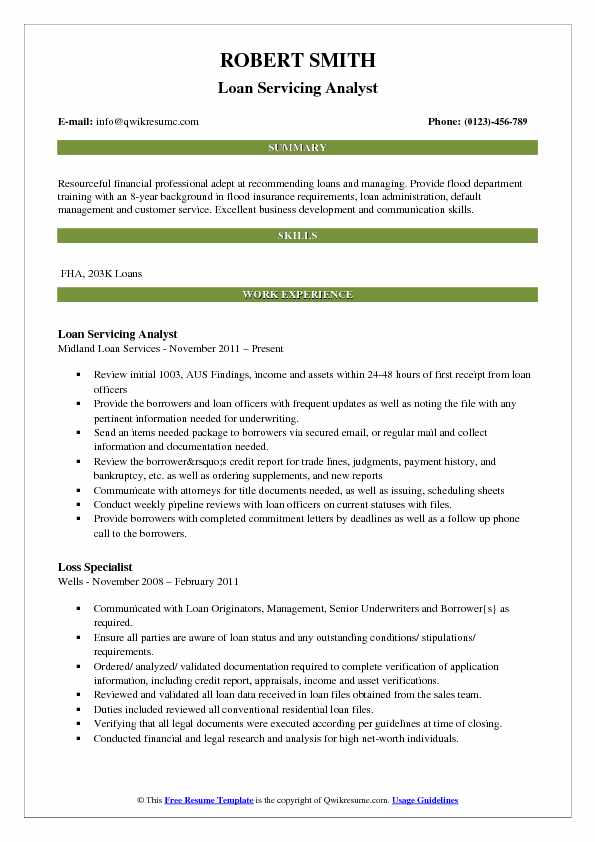 Loan Analyst Resume Samples QwikResume