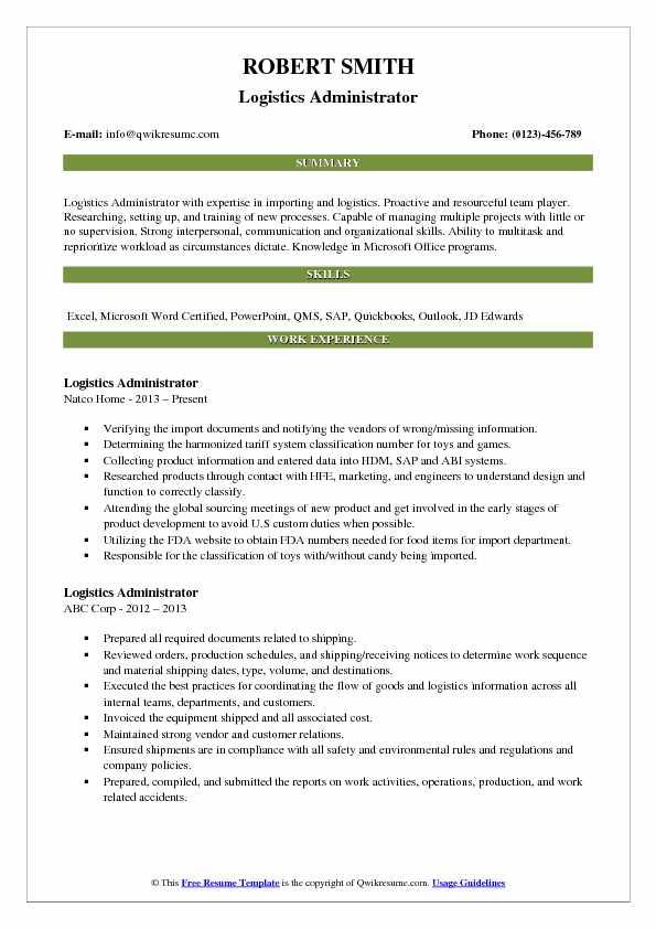 logistics resume summary - Nevadlugopisyreklamowe