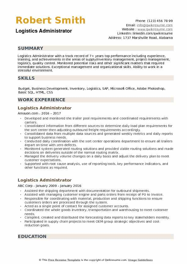 Logistics Administrator Resume Samples QwikResume