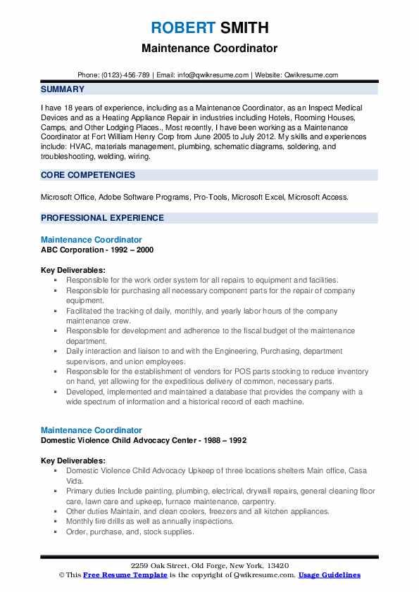 sample resume of maintenance planner