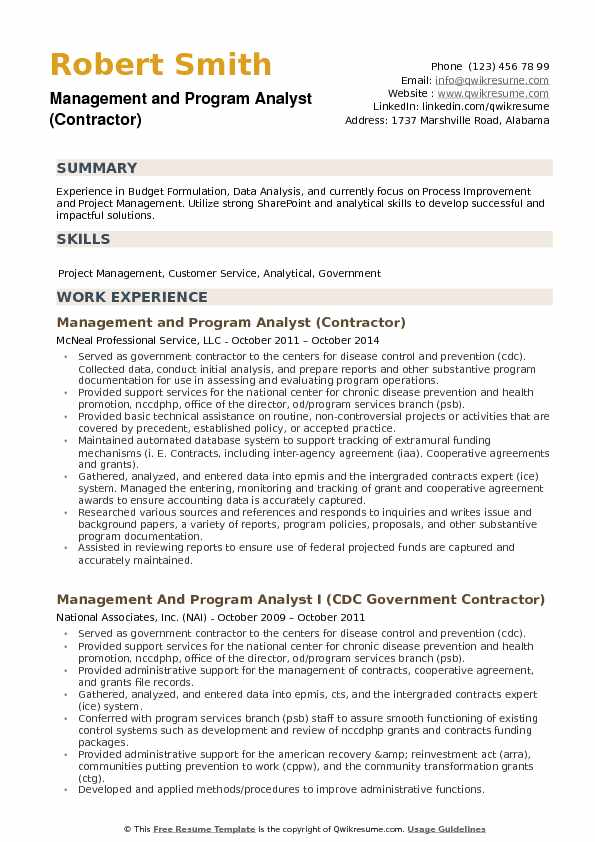 management and program analyst resume template