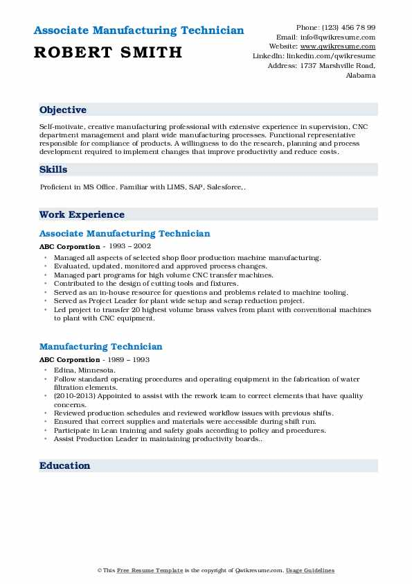 manufacturing functional resume example
