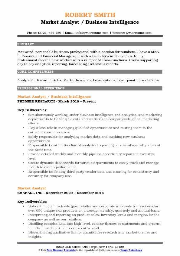 Market Analyst Resume Samples QwikResume - market analyst sample resume