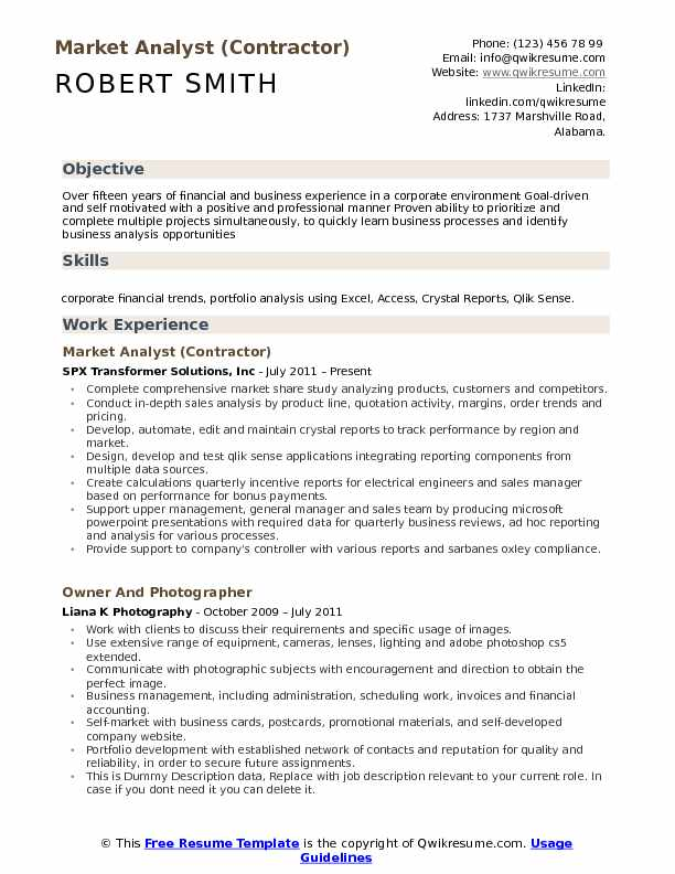 Market Research Resume Objective  Market Research Resume