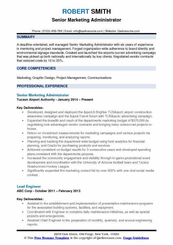 Marketing Administrator Resume Samples QwikResume - environmental administration sample resume