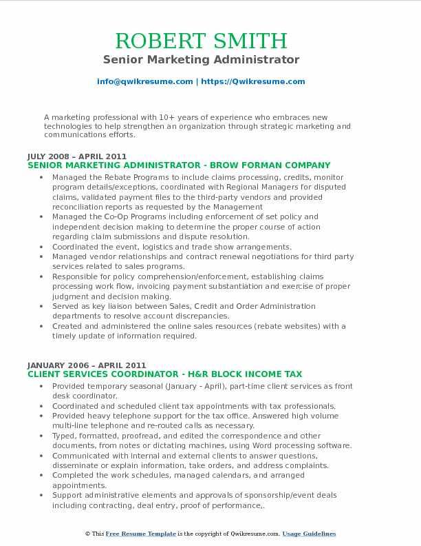 Marketing Administrator Resume Samples QwikResume - marketing administrator sample resume