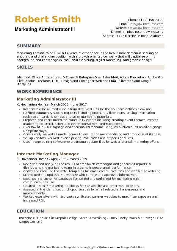 Marketing Administrator Resume Samples QwikResume