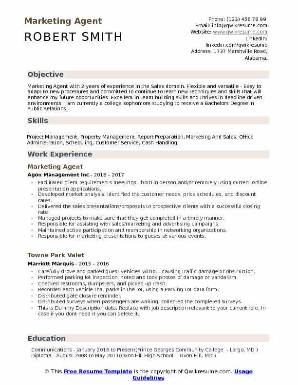 Marketing Agent Resume Samples QwikResume