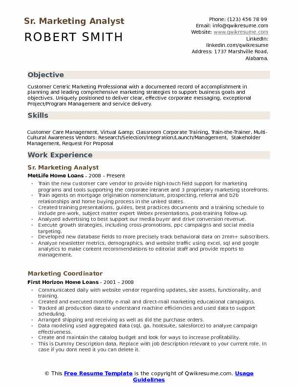 Marketing Analyst Resume Samples QwikResume