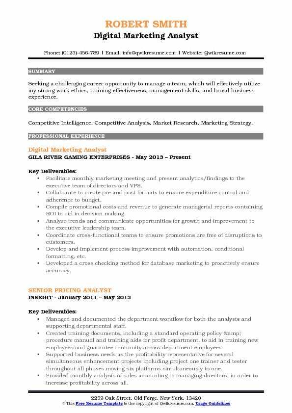 analyst marketing analytics resume samples