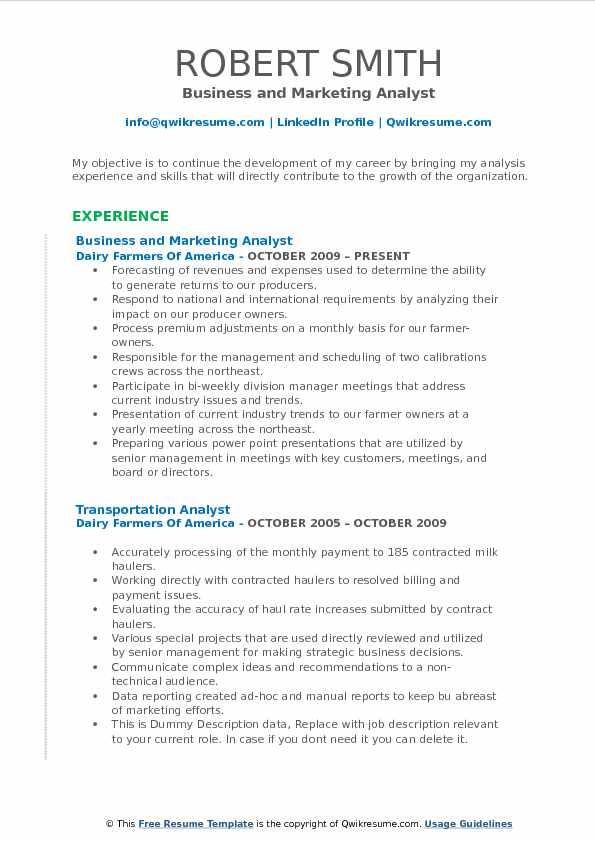 Marketing Analyst Resume Samples QwikResume - transportation analyst sample resume