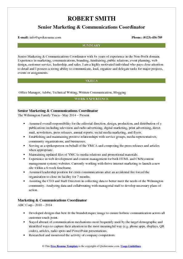 Marketing Communications Coordinator Resume Samples QwikResume