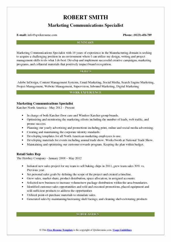 Marketing Communications Specialist Resume Samples QwikResume