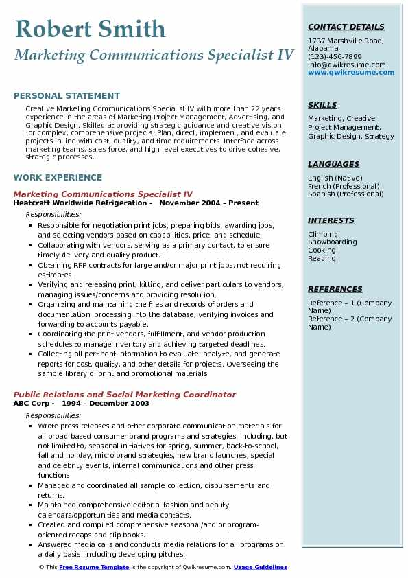 marketing communications specialist resume examples