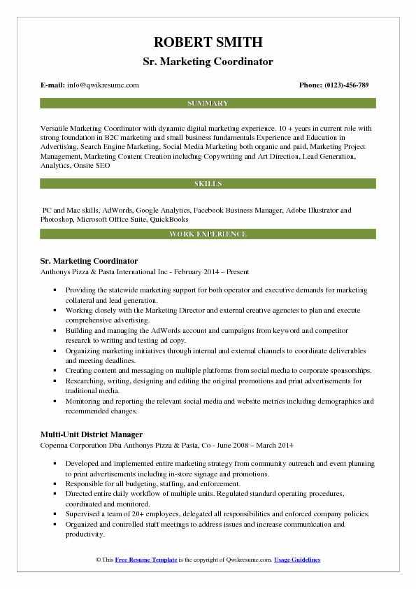 Marketing Coordinator Resume Samples QwikResume