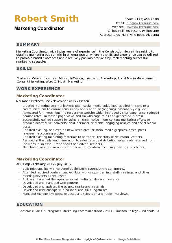 Marketing Coordinator Resume Samples QwikResume