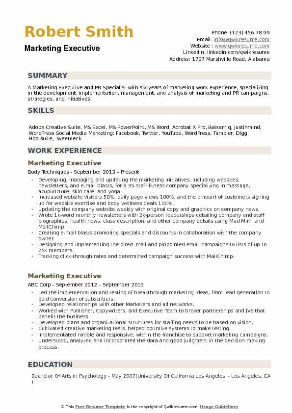 Marketing Executive Resume Samples QwikResume