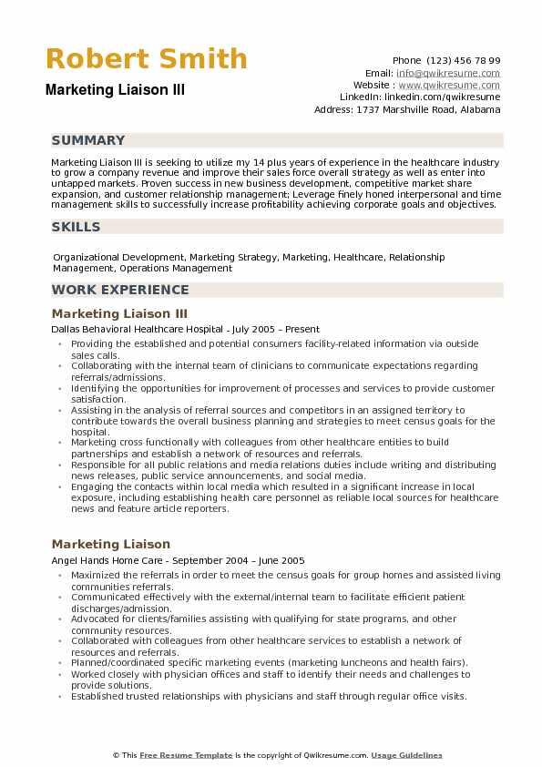 Marketing Liaison Resume Samples QwikResume