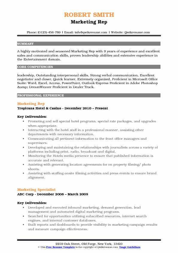 Marketing Representative Resume Samples QwikResume - proficient in microsoft office