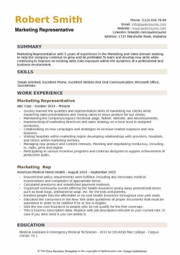 Marketing Representative Resume Samples QwikResume