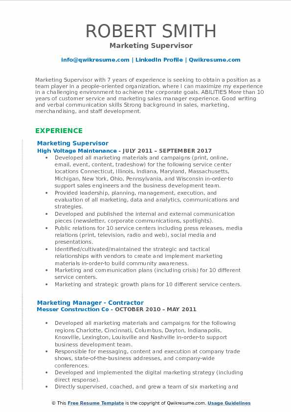 Marketing Supervisor Resume Samples QwikResume