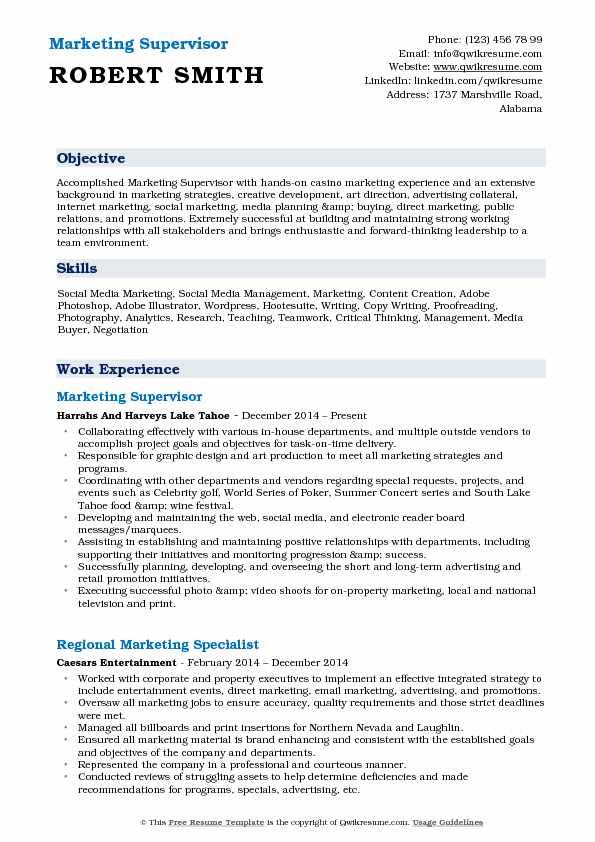Marketing Supervisor Resume Samples QwikResume