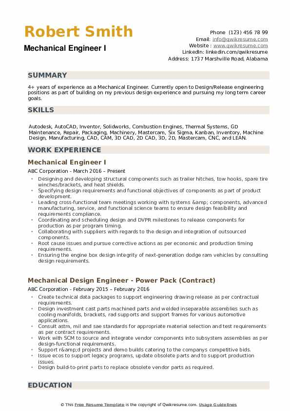 work experience resume for mechanical engineer