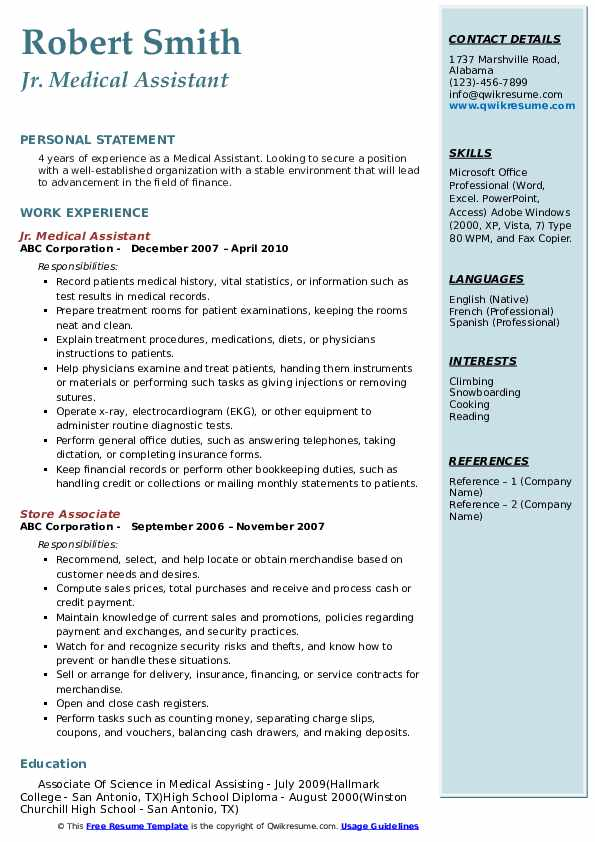resume examples for medical records assistant