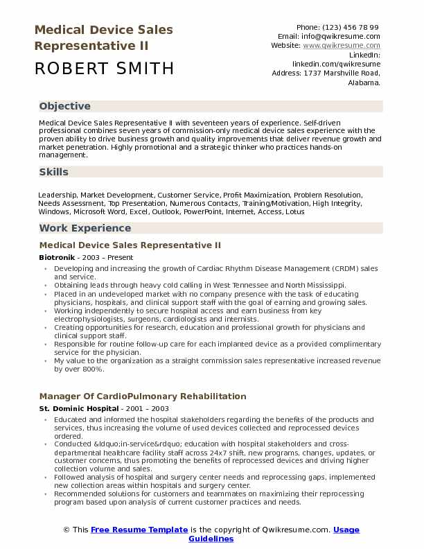 Medical Device Sales Representative Resume Samples QwikResume