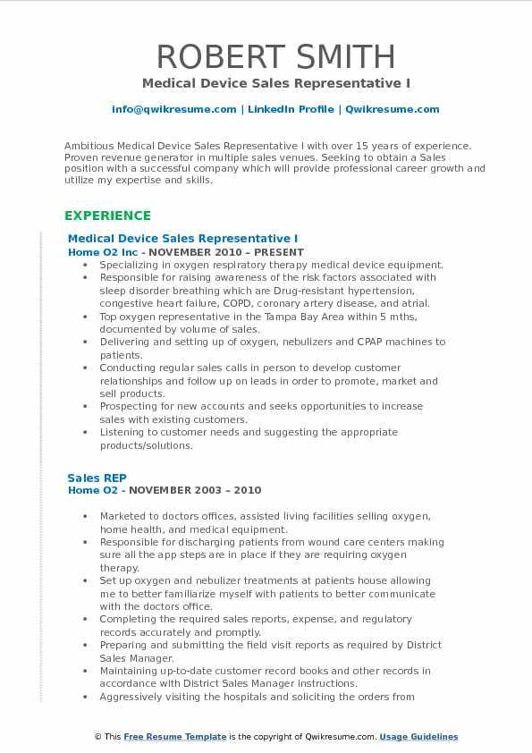 Medical Device Sales Representative Resume Samples QwikResume