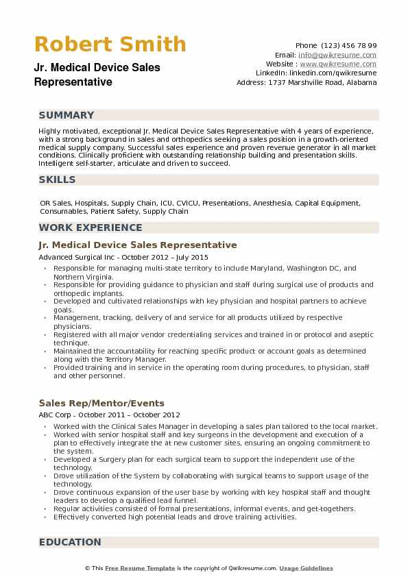 Medical Device Sales Representative Resume Samples QwikResume - medical device resume