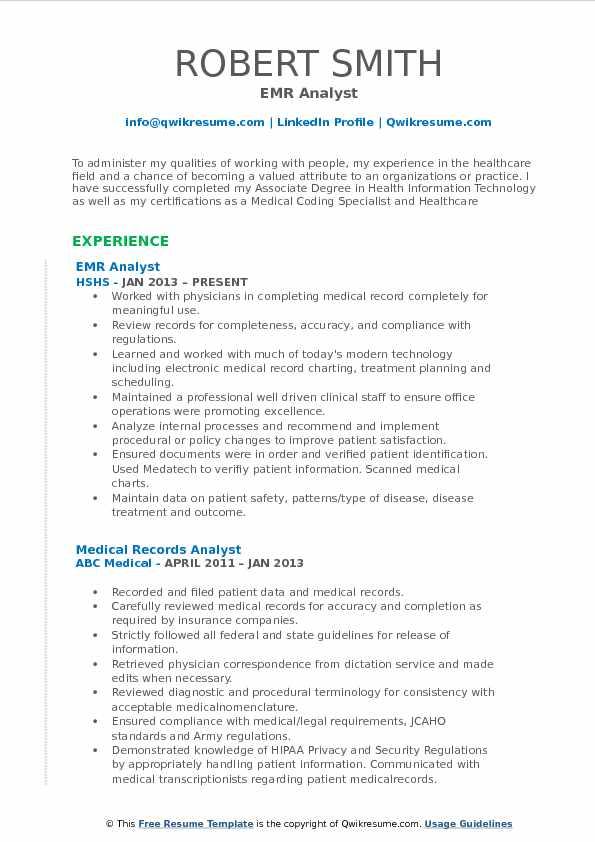 Medical Records Analyst Resume Samples QwikResume - medical coding auditor sample resume