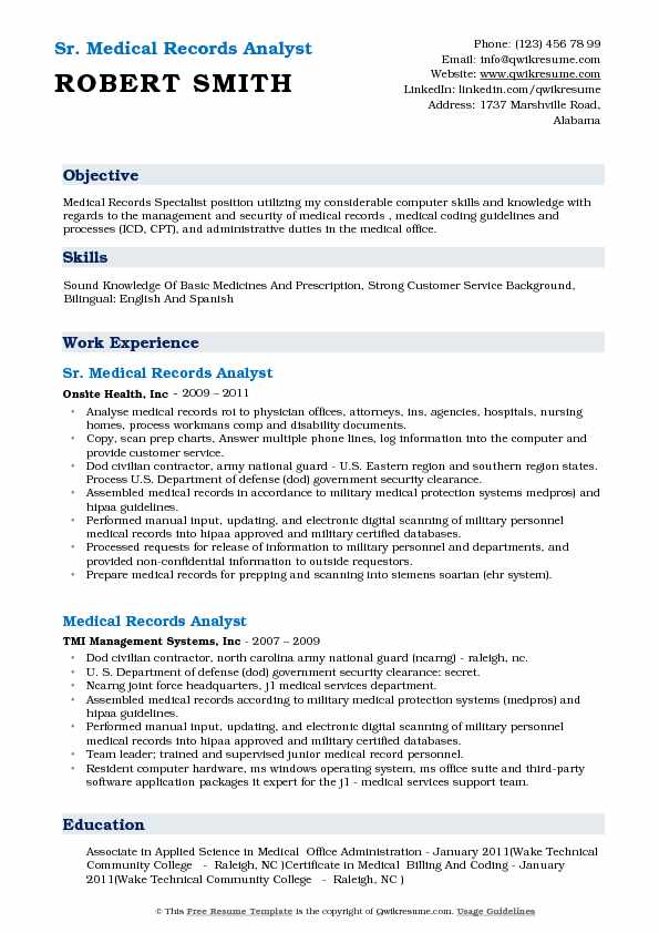 Medical Records Analyst Resume Samples QwikResume - sample health record