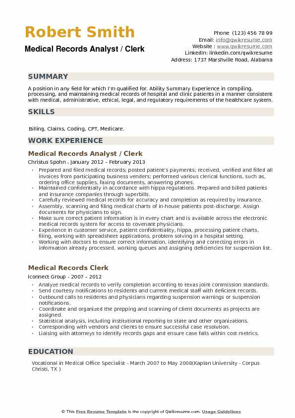 Medical Records Analyst Resume Samples QwikResume - Clinic Clerk Sample Resume