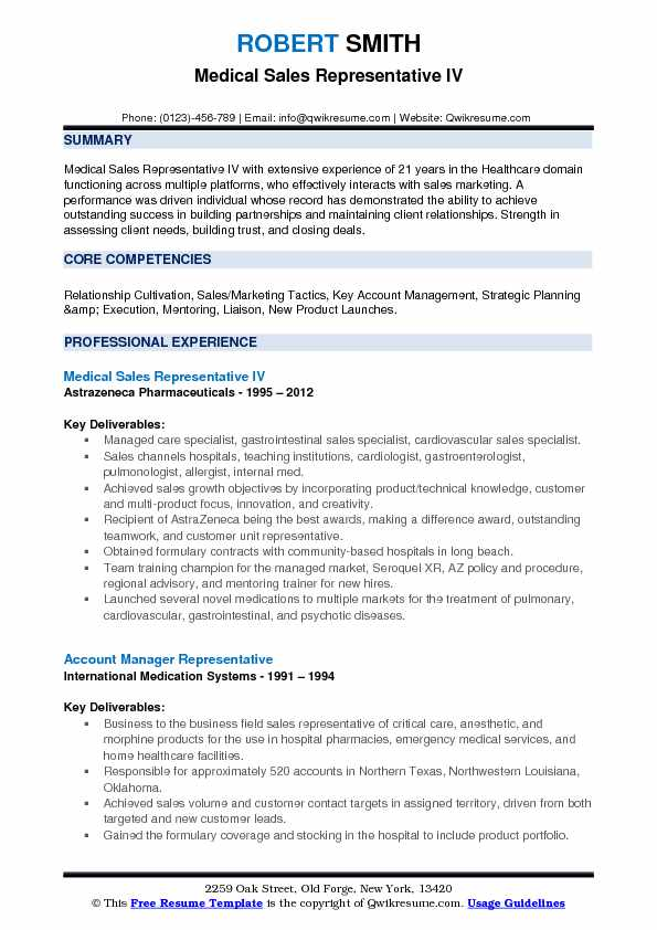 Medical Sales Representative Resume Samples QwikResume - medical marketing resume