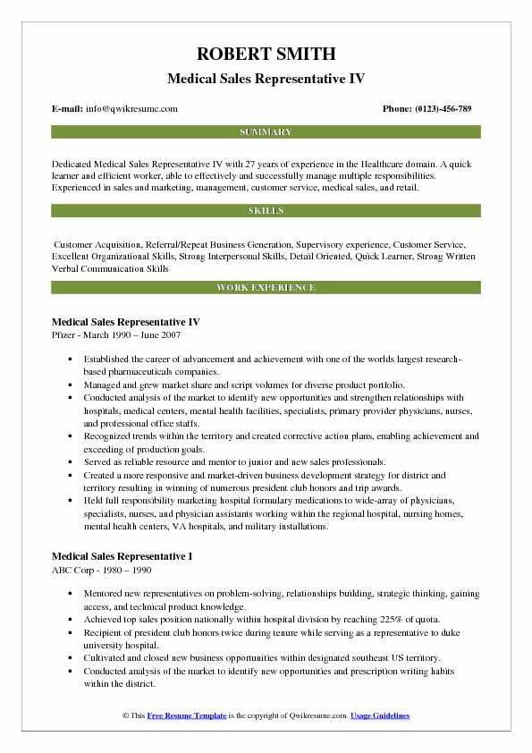 Medical Sales Representative Resume Samples QwikResume