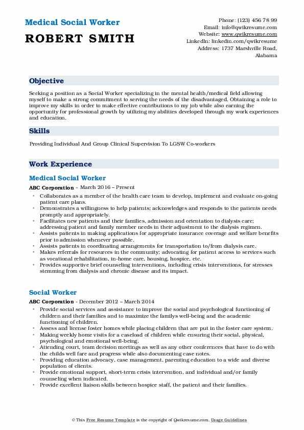 medical social worker resume